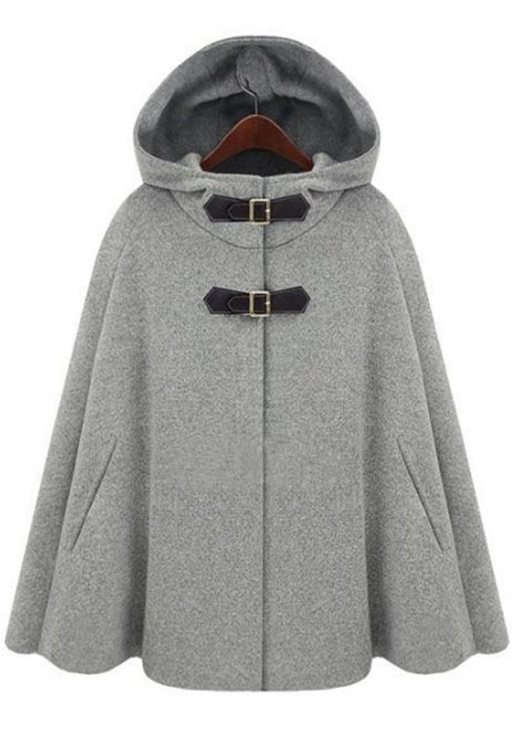 Grey Hooded Two PU Buckle Cashmere Wool Coat - Outerwears - Tops