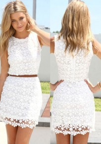 White Floral Hollow-out Sleeveless Cute Casual Lace Summer Dress