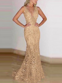 Golden Patchwork Sequin Glitter Sparkly Grenadine Draped V-neck Sleeveless Mermaid Elegant Wedding Gowns Maxi Dress