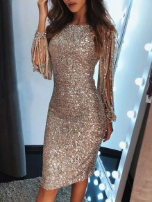 Golden Patchwork Tassel Sequin Cut Out Round Neck Long Sleeve Elegant Midi Dress