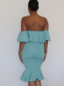 Light Blue Off Shoulder Ruffle Bodycon Mermaid Maternity For Babyshowes Maxi Dress