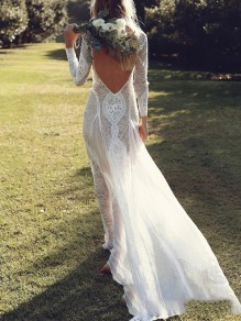 White Patchwork Lace Backless Big Swing Elegant Wedding Gowns Maxi Dress