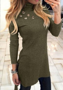 Green Plain Cut Out High Neck Fashion Pullover Sweater