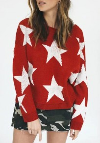Red Star Print Cut Out High-low Side Slit Long Sleeve Cute Pullover Sweater