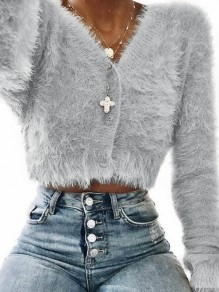 Grey Fur Furzzy Crop Single Breasted Plus Size Casual V-neck Cardigan Sweater