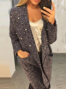 Black Patchwork Pockets Beading V-neck Long Sleeve Casual Cardigan
