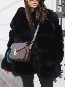 Black Fuzzy Faux Rabbit Fur Bubble Thick Warm Long Sleeve Casual Outerwear