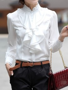 White Patchwork Lace Buttons Ruffle Band Collar Casual Chiffon Blouse