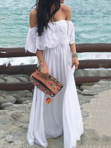 White Patchwork Lace Cut Out Ruffle Off Shoulder Big Swing Flowy Beach Maxi Dress
