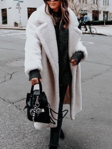 White Faux Fur Pockets Buttons Turndown Collar Long Sleeve Oversize Teddy Coat