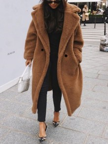 Khaki Pockets Buttons Turndown Collar Long Sleeve Oversize Teddy Coat