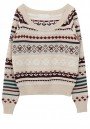 Multicolor Geometric Round Neck Wool Blend Sweater